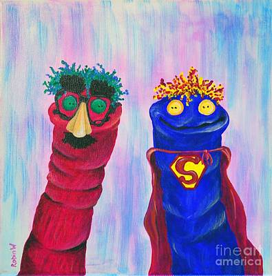 Superman Painting - Sock Puppets Under Cover by Robin Wiesneth