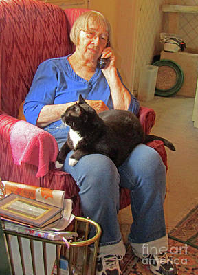 Photograph - Socks And Marion On Phone by Fred Jinkins