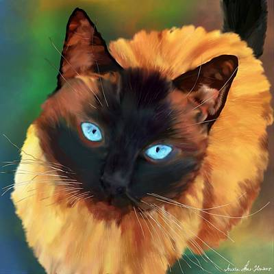 Watercolor Pet Portraits Digital Art - Socrates Felis Catus by Iowan Stone-Flowers