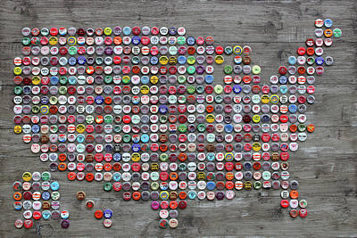 Soda Pop Bottle Cap Map Of The United States Of America Art Print by Design Turnpike