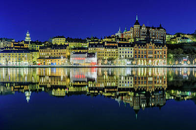 Photograph - Sodermalm And Mariaberget Blue Hour Reflection by Dejan Kostic