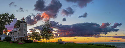 Photograph - Sodus Bay Lighthouse At Sunset by Mark Papke