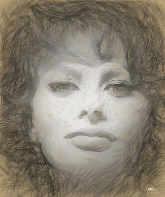 Sofia Loren Pencil Portrait Art Print by Quim Abella