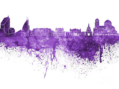 Sofia Skyline In Purple Watercolor On White Background Art Print by Pablo Romero