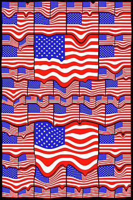 Patriotism Drawing - Soft American Flags by Mike McGlothlen