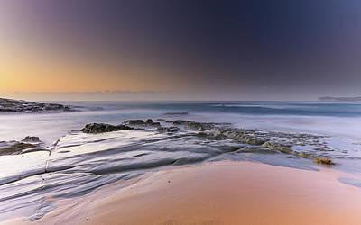 Soft And Rocky Sunrise Seascape Art Print