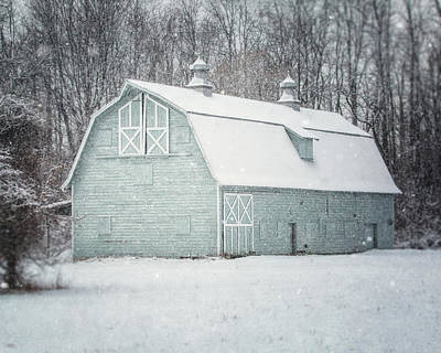 Photograph - Soft Aqua Barn In The Snow by Lisa Russo