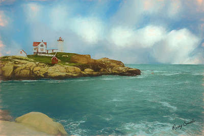 Digital Art - Soft Art Photo Of  Nubble Light In Coastal York, Maine. by Rusty R Smith