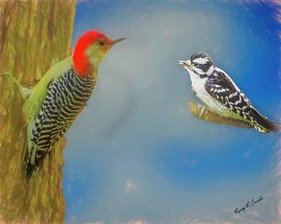 Digital Art - Soft Art Portrait Of Red Bellied Woodpecker And A Young Downy Wo by Rusty R Smith