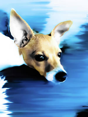 Fox Terrier Digital Art - Soft Bleu Buddy by Heather Joyce Morrill