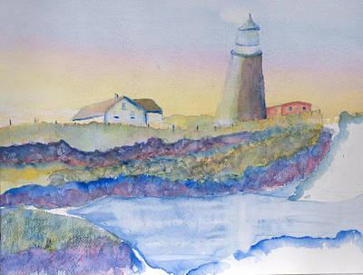 Soft Blue And A Light House Art Print by MaryBeth Minton