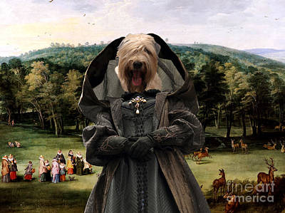 Painting - Soft Coated Wheaten Terrier Art Canvas Print - The Infanta Isabel Clara Eugenia In The Park Of Marie by Sandra Sij