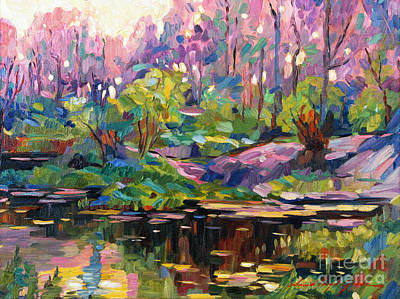 Pond Painting - Soft Evening Light Plein Air by David Lloyd Glover