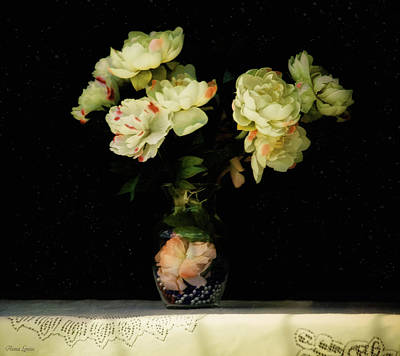 Photograph - Soft Glow Cream Peonies In Vase by Anna Louise