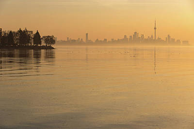 Photograph - Soft Gold - Toronto Skyline In Velvety Morning Mist by Georgia Mizuleva
