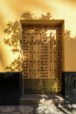 Photograph - Soft Golden Shadows - Antique Door Fortified With Brass Studs Seville Spain by Georgia Mizuleva