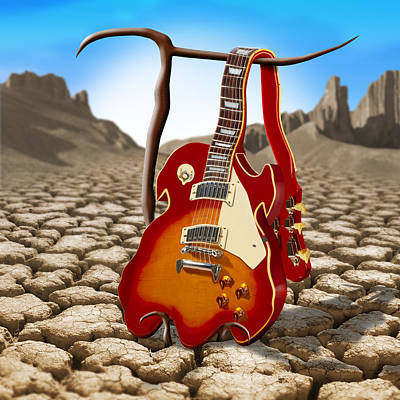 Surrealism Royalty-Free and Rights-Managed Images - Soft Guitar II by Mike McGlothlen