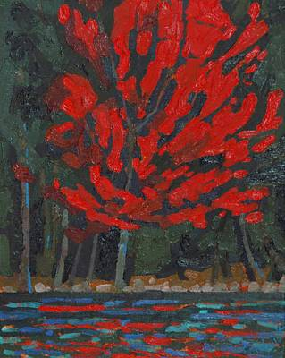 Beaver Lake Painting - Soft Maple Shore by Phil Chadwick