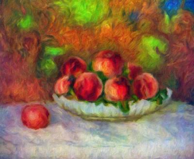 Red White And Blue Mixed Media - Soft Peaches Still Life by Georgiana Romanovna