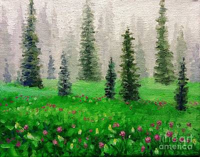 Impressionism Painting - Soft Rain Low Mountain by Hilary England