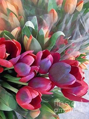 Photograph - Soft Reds Of Spring - Tulips by Miriam Danar