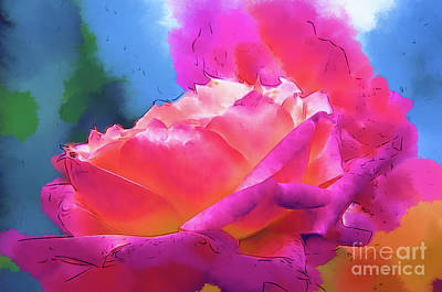 Digital Art - Soft Rose Bloom In Red And Purple by Kirt Tisdale