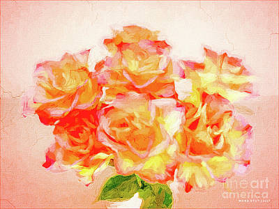 Rosaceae Mixed Media - Soft Roses Floral Bouquet by Mona Stut