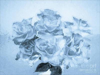 Rosaceae Mixed Media - Soft Roses Monotone Floral Bouquet by Mona Stut