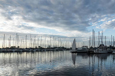 Photograph - Soft Silver Morning - Reflecting On Sails And Yachts by Georgia Mizuleva