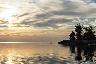 Photograph - Soft Summer Fun - Solo Paddle Through A Watercolor Cloudscape by Georgia Mizuleva