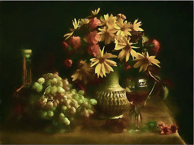Moody Painting - Soft Watercolor Still Life Of Flowers,wine And Grapes by Elaine Plesser