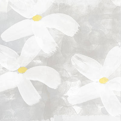 Floral Wall Art Painting - Soft White Flowers by Linda Woods