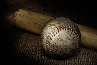 Painted Bat Photograph - Softball And Bat by Erin Cadigan