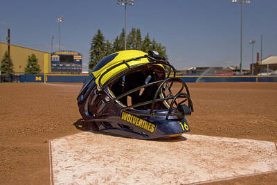 Softball Catcher Helmet Art Print