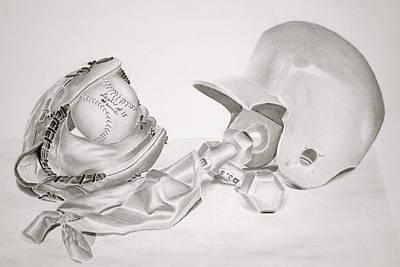 Softball Drawing - Softball by Leslie Ann Hammer