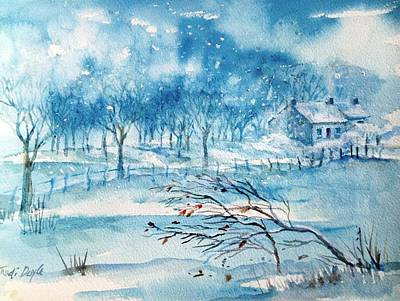 Painting - Softly Falling Woodland Snow by Trudi Doyle