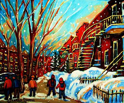 Montreal Street Life Painting - Softly Snowing by Carole Spandau