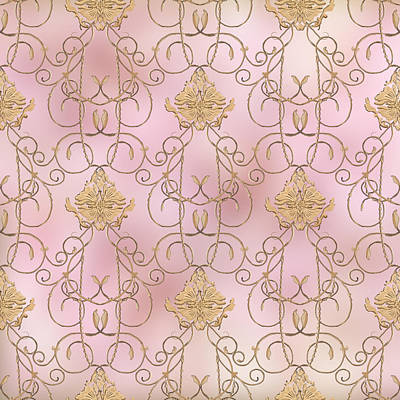 Medallion Painting - Softly Summer - French Parisian Apartment Damask Lilac by Audrey Jeanne Roberts