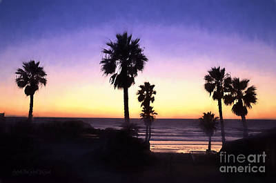 Photograph - Solana Beach Sunset - Digital Painting by Sharon Tate Soberon