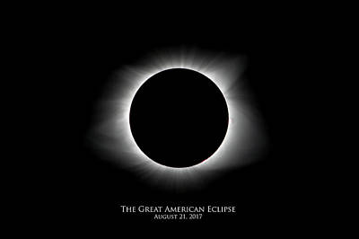 Photograph - Solar Eclipse Ring Of Fire With Text by Lori Coleman