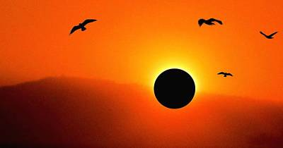 Solar Eclipse Mixed Media - Solar Eclipse by Romuald  Henry Wasielewski