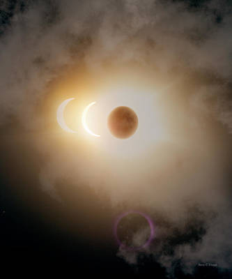 Authentic Inspiration Photograph - Solar Eclipse Three Images by Betsy Knapp