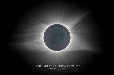 Art Print featuring the photograph Solar Eclipse With Moon Detail And Text by Lori Coleman
