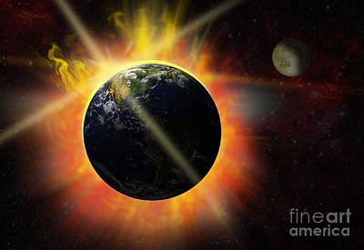 Solar Eclipse Digital Art - Solar Flare by Michal Boubin