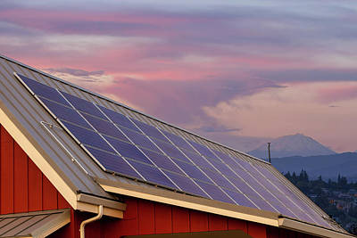 Solar Panels On Roof Of House Art Print by David Gn