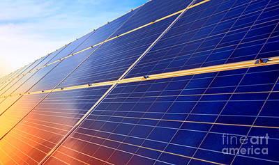 Photograph - Solar Panels Sunset by Olivier Le Queinec