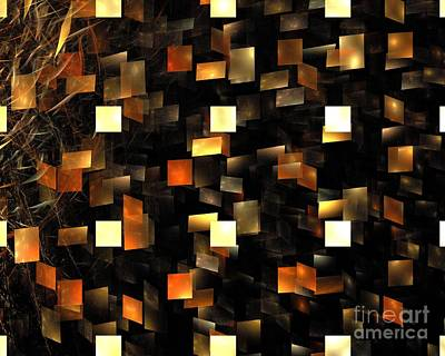 Digital Art - Solar Sienna Cubes by Kim Sy Ok