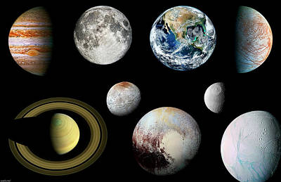 Photograph - Solar System Planets And Moons Enhanced by Weston Westmoreland