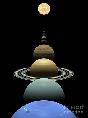 Digital Art - Solar System Planets In Alignment Around Sun by Nicholas Burningham