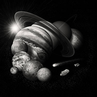 Photograph - Solar System Planets Montage Black And White Image by Ram Vasudev